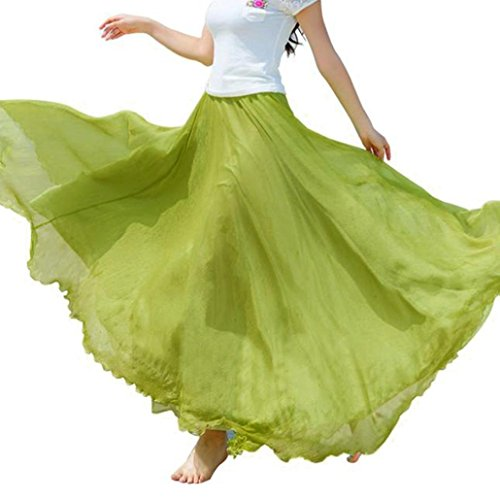 ADESHOP Femmes Taille Lastique En Mousseline De Soie Longue Robe De Plage Femmes Mode DContractE Chic Bon March Femmes T Plage De La Mer Jupe PlissE Et Jupes (Taille libre, Vert)