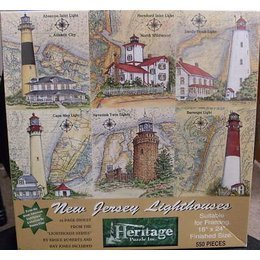 (New Jersey Lighthouses 550 Piece Puzzle by Donna Elias Featuring Absecon Inlet Lighthouse in Atlantic City, Hereford Inlet Lighthouse in North Wildwood, Sandy Hook Lighthouse, Cape May Lighthouse, Navesink Twin Lighthouse and Barnegat Lighthouse)