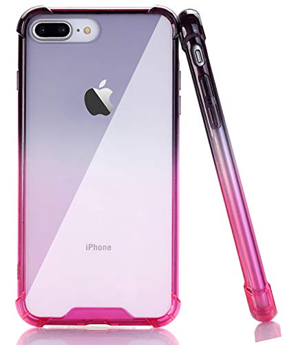 (BAISRKE Clear Case for iPhone 7 Plus, Slim Shock Absorption Protective Case Soft TPU Bumper & Hard Plastic Back Cover Phone Cases for iPhone 7 Plus / 8 Plus 5.5 inch - Black Pink Gradient)