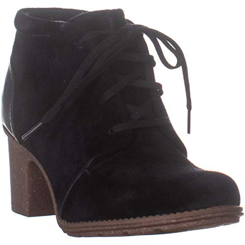 CLARK'S Women's Sashlin Sue Fashion Boot, Black Suede/Leather Combo, 100 M -