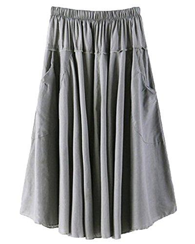 ZhuiKunA Jupe Parapluie Femme Et Bureaux Couleur Pure Plisse Poches Grand Pendule Gris