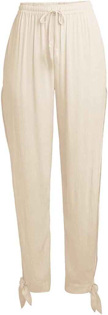 RISTHY Pantalones Profesionales de Yoga con Aberturas Laterales Sueltos Cintura Alta Mujer Pantalones de Lino Largos Deportivos Suaves y C/ómodos para Playa