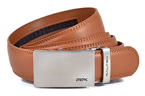 Railtek Belts Men's Leather Ratchet Belt - Brushed Steel Light Brown Leather - Light Brown Leather Belt Strap
