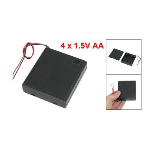 TOOGOO(R) ON/OFF Switch 5.5'' Leads Battery Holder Box Case for 4 x 1.5V AA Batteries