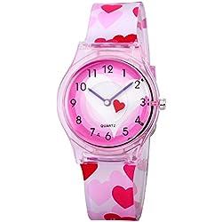 Zeiger New Fashion Children Kids Teen Young Girls Watches Age 7 - 11 - 15 Time Teacher, Cartoon Character Heart Shape Band (Pink)KW047