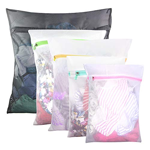 5 Pcs Mesh Laundry Bags for Delicates with Zipper, Lingerie Bags for Laundry, Travel Storage Organize Bag, Clothing Washing Bags for Laundry,Blouse, Hosiery, Stocking, Underwear, Bra and Lingerie