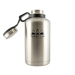 Stainless Steel Insulated Beer Growler and Water Bottle - Wide Mouth, BPA Free, 64 oz. Capacity, Double-Wall Vacuum Sealed for Hot and Cold Beverages, Leak-Proof Insulated Cap.