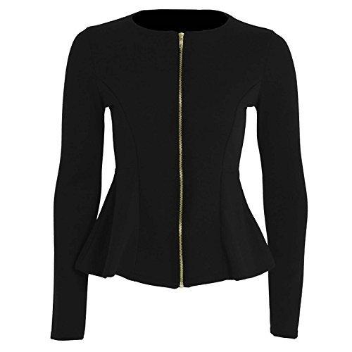 Péplum Femmes Blazer Pour Hauts Dames À Noir Dernier Éclair Veste Grande Taille Fermeture Uni Neuf Volant BYwTzqv5Bx