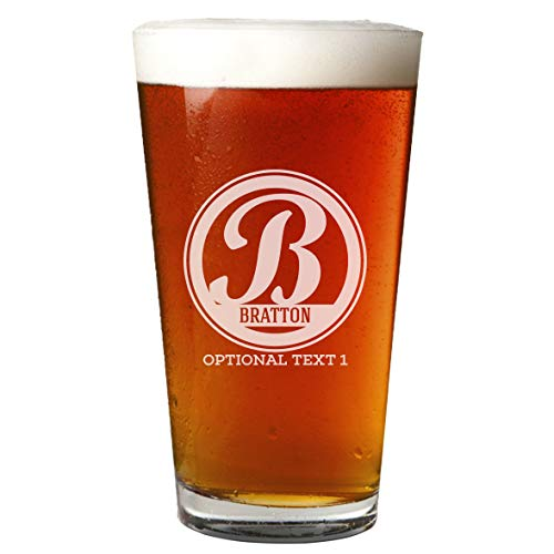 - Personalized Etched Monogram 16oz Pint Glass