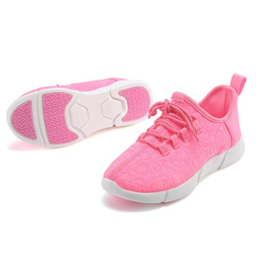 ℱLOVESOOℱ Couple Lace-Up Sneakers with Led Light Unisex Colorful Flash Casual Shoes Quick-Drying Breathable Runing Shoes Pink by ℱLOVESOOℱ (Image #2)