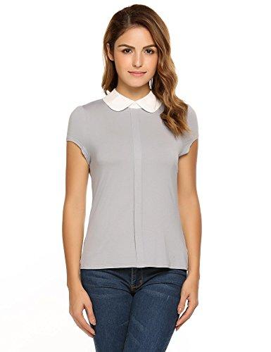Zeagoo womens peter pan collar shirts cap sleeve tops for Womens golf shirts xxl