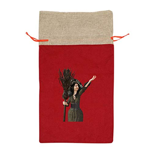 Cool Halloween Wicked Witch with A Broom 12 Inch Long Tall Candy Treat Merry Christmas Xmas Eve Gift Bags Handles Carrying Toys Goodie Themed Party Holiday Nice Large Burlap]()
