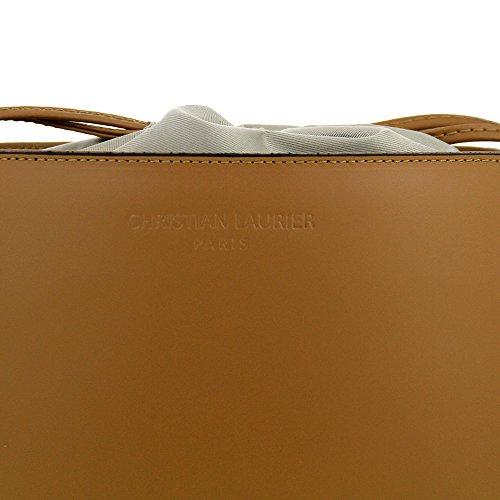 Christian Laurier - Sac à main en cuir modèle Gwen camel - Sac à main haut de gamme fabriqué en Italie