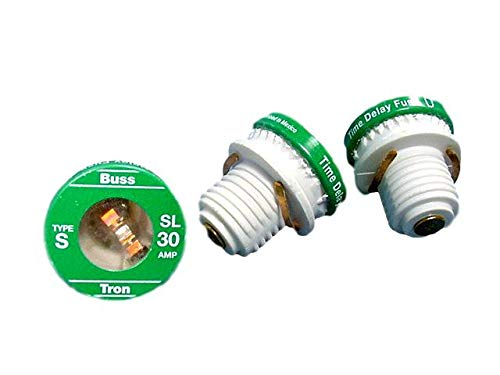 Leviton 6710-30, 30-Amp, Type S, Buss-Tron Time Delay Plug Fuse; Package of 3 (Fuse Delay Time Tron)