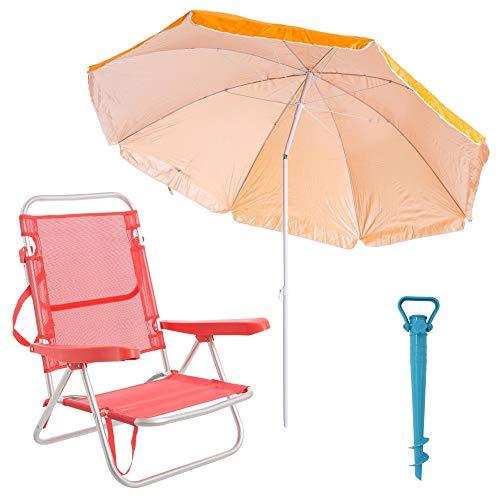 🥇 LOLAhome Pack de Silla con sombrilla de Playa y Soporte de Aluminio y textileno