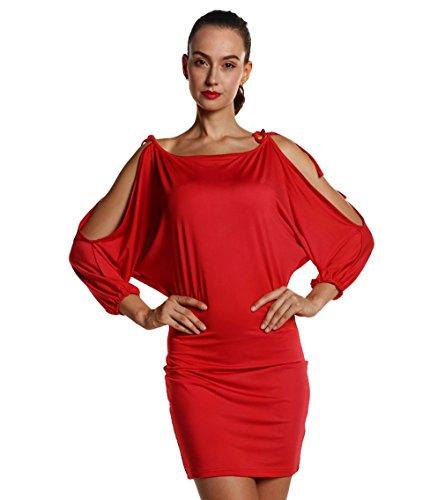 Taille Chauve xl Epaule Acvip Combinaison S Robe Fourreau 3 Ensemble Mini Soirée souris Femme Rouge Nu Couleurs Sexy aXa6Wq