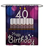 Custom Made Shower Curtains 40th Birthday Shower Curtains Digital Printing Big Color Dots and Graphic Cake with Candles Hand Writing and Stars Custom Made Shower Curtain W60 x L72 Purple Pink White