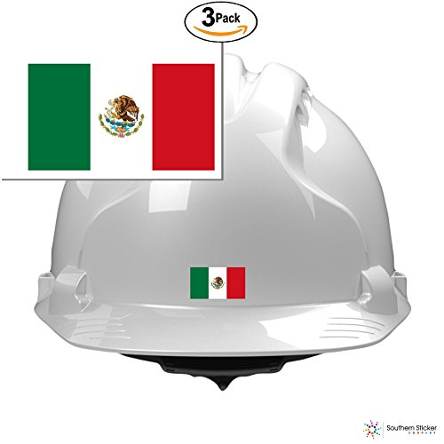 (3) country flag Mexico 2x1 inches size - funny stickers for construction hard hat pro union working men lunch box tool box symbol window motorcycle biker car - Made and shipped in USA