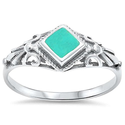 Silver Natural Stone Rings - Sterling Silver Natural Stone Ring Sizes 5-10 (Three Colors Available) (Sterling Silver Turquoise, 10)