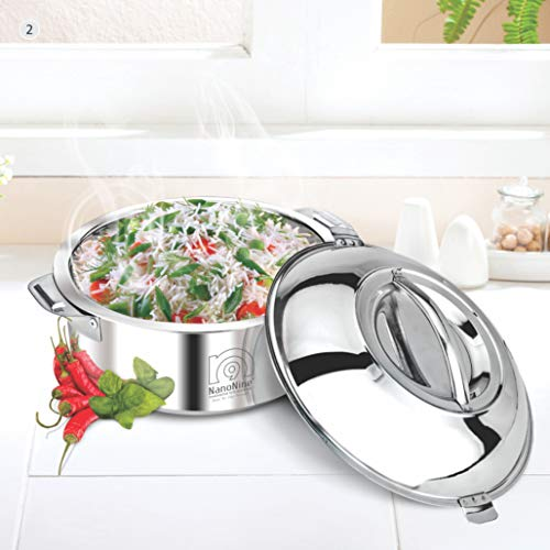 NanoNine Hot Chef Double Wall Insulated Hot Pot Stainless Steel Casserole with Steel Lid, 1.4 Litre, 1 pc