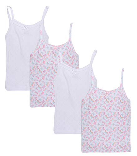 Rene Rofe Girl (4 Pack Super Soft Pointelle Camisole Tank Top (Butterflies/White, 4T)' Butterfly Cotton Tank Top