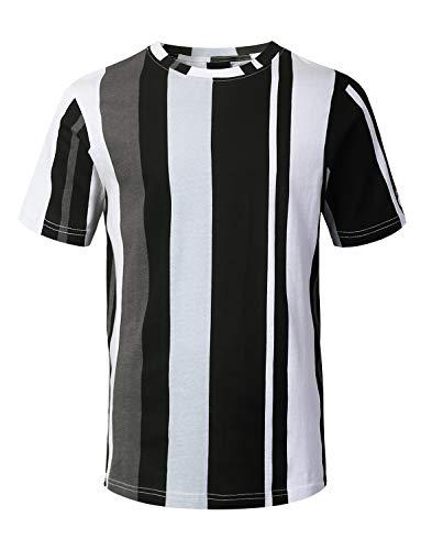 URBANCREWS Mens Hipster Hip Hop Vertical Striped Print T-Shirt Black XLarge