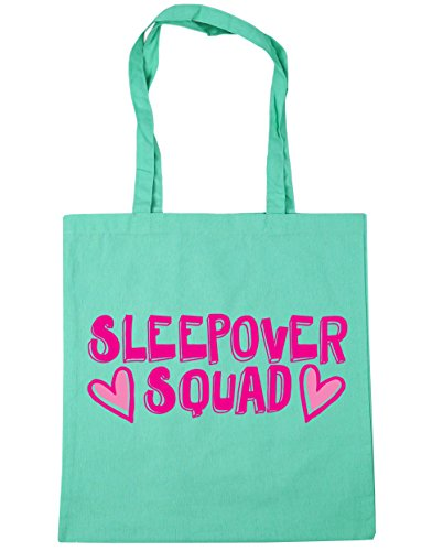 HippoWarehouse Sleepover squad Tote Shopping Gym Beach Bag 42cm x38cm, 10 litres Mint