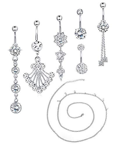 (Udalyn 8 Pcs 14G Belly Rings for Women Stainless Steel Navel Rings Body Piercing Jewery Set (B:6 pcs Silver-Tone with Body Chain))