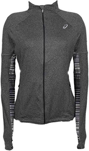 Asics Women's Thermopolis LT Thermal Lightweight Full Zip Top, Heather Iron, (Thermal Full Zip Jersey)
