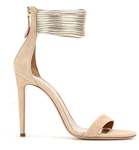 Sandalias De Mujer Gamuza Brillante Elegante Peep-Toe Talones Zapatos De Fiesta #2