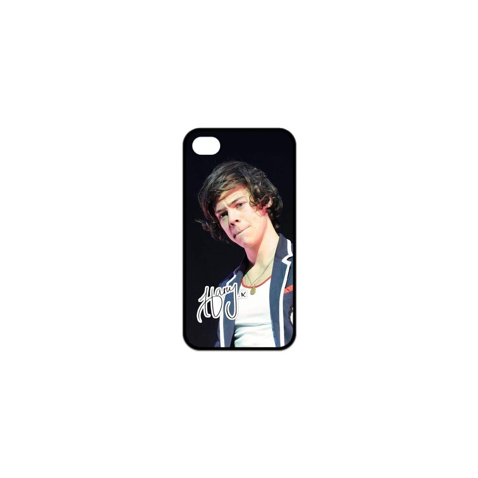 Top Iphone Case Pop Singer Harry Styles of Pop Boy Band One Direction Design for TPU Best Iphone 4/4s Case (black)