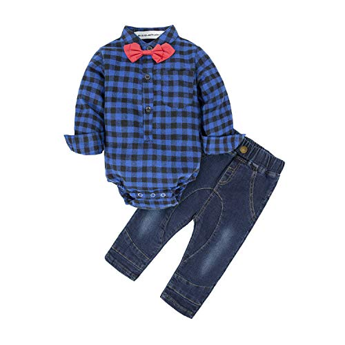 BIG ELEPHANT Baby Boys' 2 Piece Gentle Tomper Pants Set with Bowtie - Tie Padres