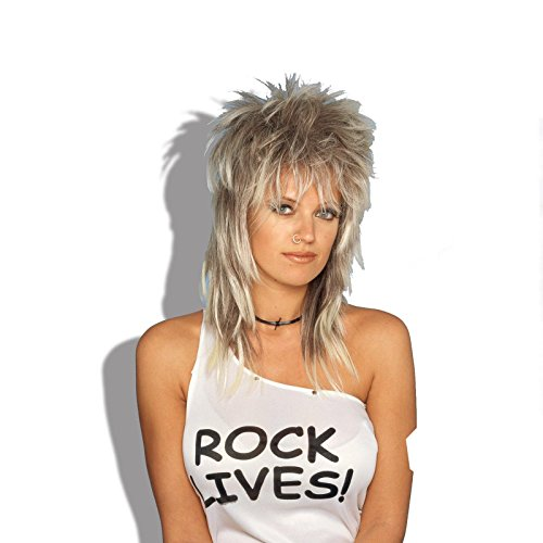 [Rocker Wig Blonde-Unisex - One Size] (80s Rock Costumes)