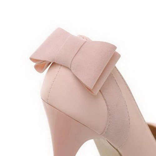 VogueZone009 Womans Closed Round Toe High Heel Spikes Stilettos PU Soft Material Solid Pumps with Bows, Pink, 3 UK