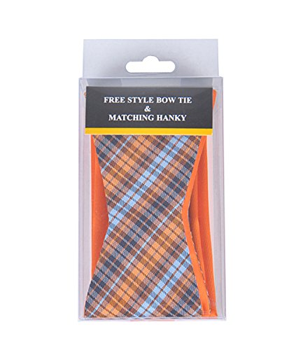- Orange/Blue Stripe Free Style Bow Tie & Matching Hanky