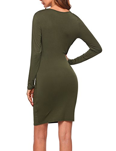 Sheath Deep Women's Pencil Army Sleeve Neck Side Wrap Green Cross V Long Donkap Dress Shirring HxXvxw