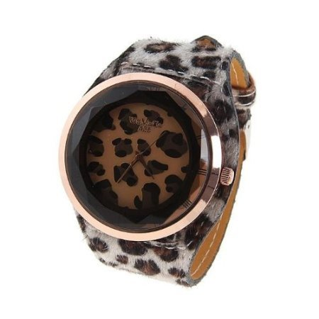 Stylish Women's Watch with Leopard Patterned Round Dial Leather Band (Patterned Round Dial)