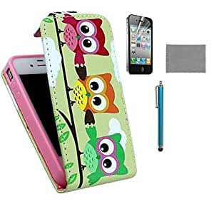 DD Three Owls Pattern PU Leather Case with Screen Protector and Stylus for iPhone 4/4S