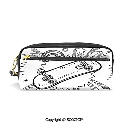 (Printed Pencil Case Large Capacity Pen Bag Makeup Bag Sketch of a Skateboard with Sixties and Seventies Style Pop Explosion Background Decorative for School Office Work College)
