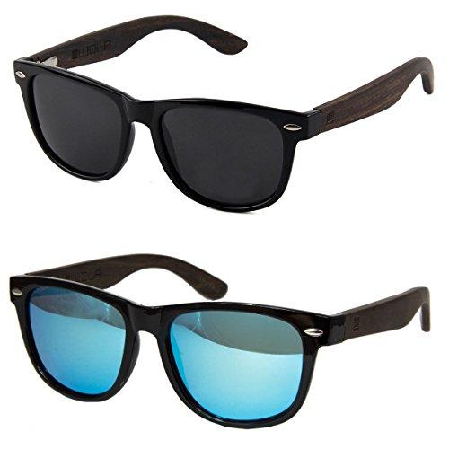 estilo madera cuadradas gafas UV400 1x de y y 1x negras gafas 1x en Azul lentes mujer unisex hombre ICE policarbonato sol Etui Smoke WOLA Set aAPZqq