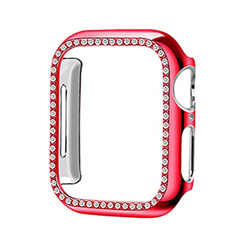LEERYAAY Protective Cover TPU Bling Diamond Crystal Shiny for Watch 4 44mm Red ()