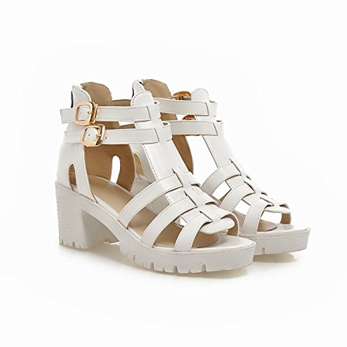 Carol Shoes Chic Womens Buckles Fashion Zipper Casual Retro Mid Sandalo Tacco Grosso Bianco