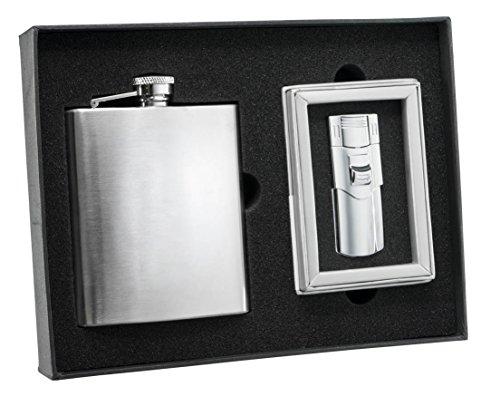 Visol Derek Stainless Steel Flask and Phantom Polished Chrome Torch Flame Lighter -