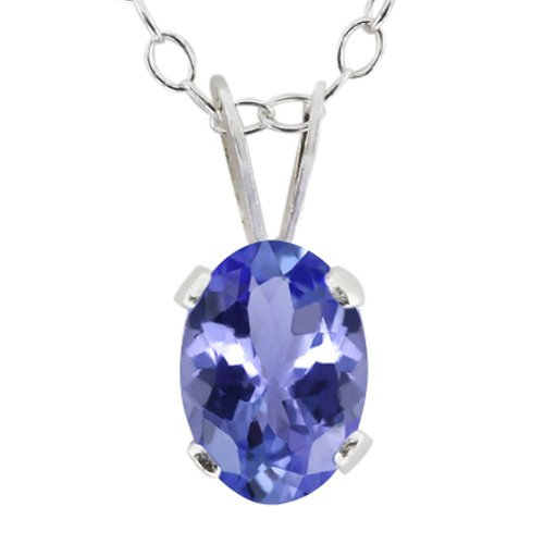 0.75 Ct 7X5mm Oval Shape Blue Tanzanite 925 Sterling Silver Pendant with 18