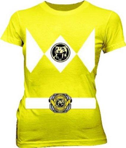 [Power Rangers Yellow Ranger Costume Yellow Juniors T-Shirt Tee (Juniors XX-Large)] (Woman Power Ranger Costume)