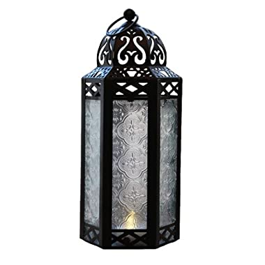 Mid Size Table/hanging Clear Glass Hexagon Moroccan Candle Lantern Holders