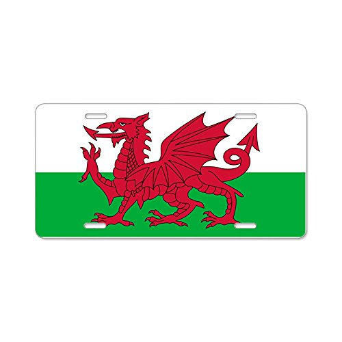CafePress - Welsh flag of Wales Aluminum License Plate - Aluminum License Plate, Front License Plate, Vanity Tag