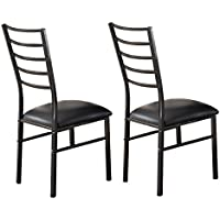 Kings Brand Furniture Black Metal Dining Room Chair With Vinyl Seat, Set of 2