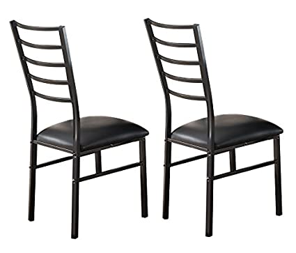 Kings Brand Furniture Black Metal Dining Room Chair With Vinyl Seat Set Of 2