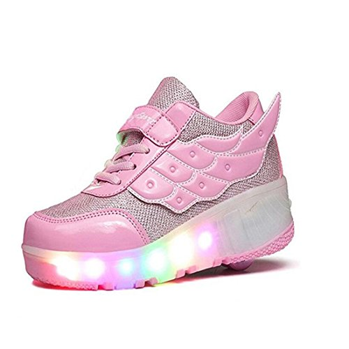Girl's Boy's LED Light Wing Glowing Shoes Single Wheel Skating Shoes (Pink-2.5 M US Little Kid) -